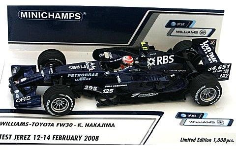 AT&T ウィリアムズ トヨタ FW30 中嶋一貴 ヘレステスト 2008年2/12〜14 (1/43 ミニチャンプス400080208)