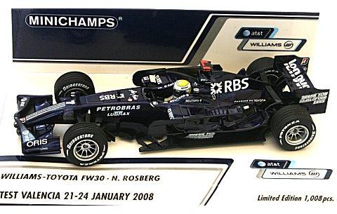 AT&T ウィリアムズ トヨタ FW30 N・ロズベルグ バレンシアテスト 2008年2/21〜24 (1/43 ミニチャンプス 400080407)