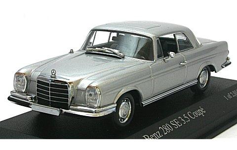 メルセデスベンツ 280 SE 3.5 クーペ (W111) 1965 シルバー (1/43 ミニチャンプス400038120)