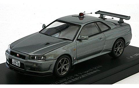 ニッサン スカイライン GT-R V-SpecII (R34) 2002 埼玉県警察高速道路交通警察隊車両 シルバー (1/43 レイズH7430212)