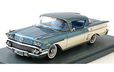 シボレー ベルエアー インパラ 2ドア ハードトップクーペ 1958 ブルー/ホワイト (1/43 ネオNEO44085)
