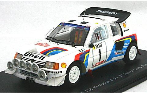 プジョー 205 T16 エボリューション2 1986 モンテカルロラリー2位 No1 (1/43 スパークモデルS1283)