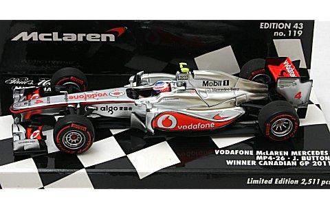 ボーダフォン マクラーレン メルセデス MP4-26 J・バトン カナダGP ウイナー 2011 (1/43 ミニチャンプス530114314)