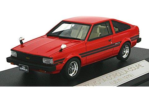 トヨタ カローラ クーペ レビン 1979 ニューポートレッド (1/43 ハイストーリーHS057RE)
