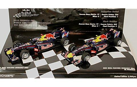 レッドブル レーシング ルノー RB6 コンストラクターズ ワールドチャンピオン 2010 S・ベッテル/M・ウェバー(2台セット) (1/43 ミニチャンプス412100506� title=