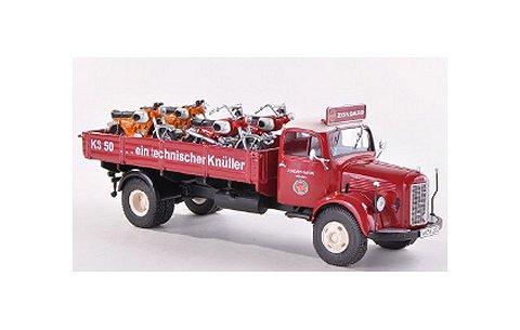 メルセデス L3500 トラック レッド Zundapp KSバイク4台積載 (1/43 プレミアムクラシックスPCS12460)