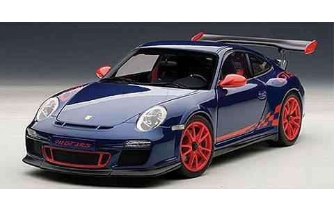 ポルシェ 911 (997) GT3RS 3.8 ブルー/レッドストライプ (1/18 オートアート78144)