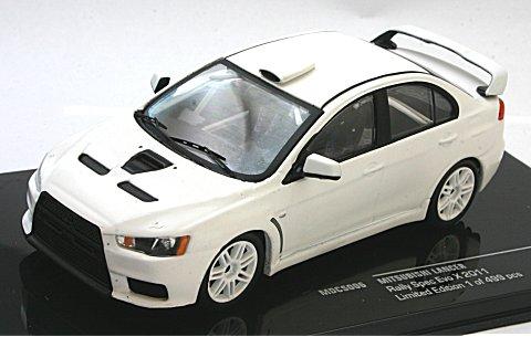 ミツビシ ランサー Evo X 2011 ラリー仕様 (ホイールとタイヤ2セット) ホワイト (1/43 イクソMDCS006)