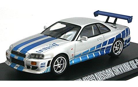 ワイルド・スピード シリーズ3/ ワイルド・スピードX2: 1999 ニッサン スカイライン GT-R シルバーwithブルーストライプ (1/43 グリーンライト86208)