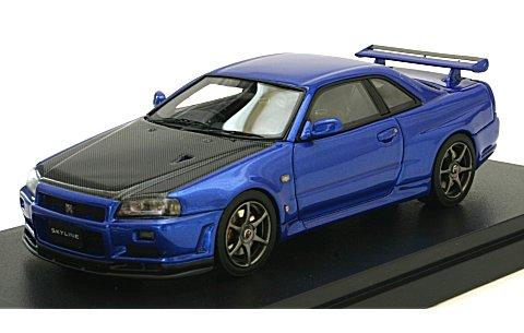 ニッサン スカイライン GT-R V-SpecII(BNR34) カーボンボンネット ベイサイドブルー (1/43 マーク43 PM4301CBL)