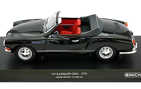 フォルクスワーゲン カルマンギア コンバーチブル 1970 ブラック (1/18 ミニチャンプス155024031)