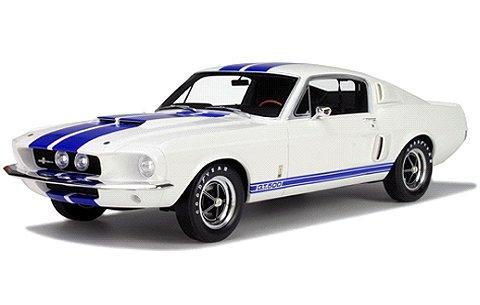 フォード マスタング シェルビー GT500 ホワイト/ブルーライン (1/12 オットーモビルOTMG022)