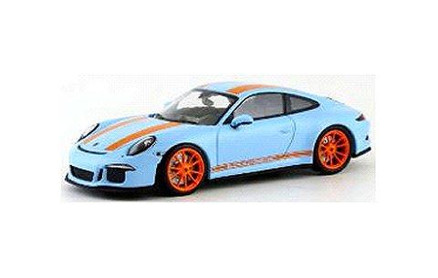 ポルシェ 911 R (991) 2016 ガルフブルー/オレンジストライプ (1/43 ミニチャンプス413066262)
