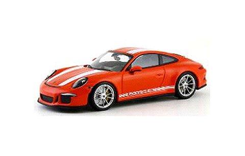 ポルシェ 911 R (991) 2016 ラヴァオレンジ/ホワイトストライプ (1/43 ミニチャンプス413066272)