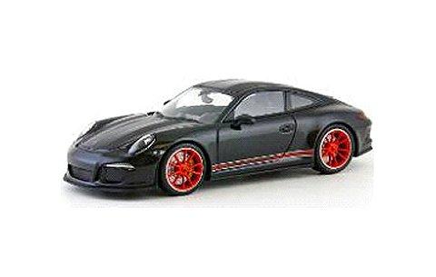 ポルシェ 911 R (991) 2016 ブラック/マットブラックストライプ (1/43 ミニチャンプス413066275)