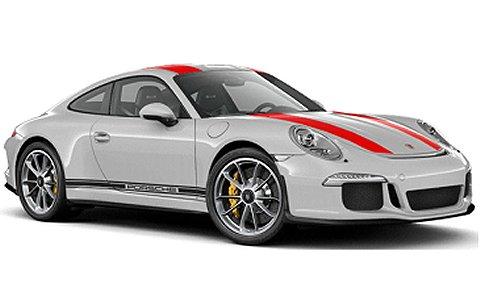 ポルシェ 911R 2016 シルバー/レッドストライプ+サイドライン+PORSCHE (1/43 ミニチャンプス410066222)